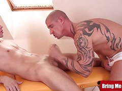 Bringmeaboy inked daddy massages young jock by blowjob movies at find-best-pussy.com
