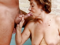 Old granny vera (72) wants to swallow sperm tubes