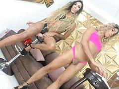 Tgirls in high heels teasing on cam movies