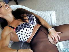 Open sheer tights show big clit and labia movies