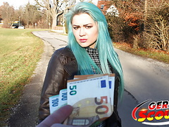 German scout - green hair teen talk to fuck at real pick up movies
