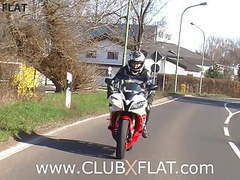 Clubxflat-  biker babe towed after breakdown tubes