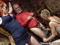 Older lady makes young hottie join for double blowjob movies