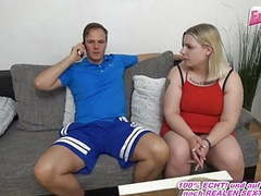 German chubby normal girl next door pick up for first 3some movies at freekiloclips.com