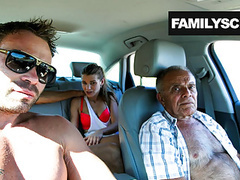Street slut fucking with grandpa, son and uncle videos