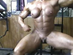 Powerful naked bodybuilder shows her big clit in the gym movies at kilovideos.com