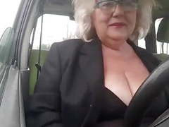 Naughty granny with big natural boobs masturbates in the car videos