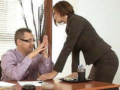 Horny stepmom visits stepson in the office movies at freekiloclips.com