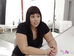 Chubby and shy vicky tries her first casting. movies at freekiloclips.com