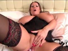 Bbw has solo anal dildo sex in lingerie videos