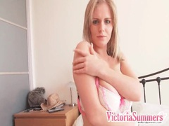 Blonde sensually fondles her big natural tits videos