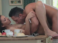 Erotic kitchen table fuck with a brunette movies at freekilosex.com