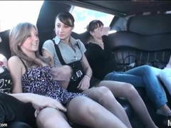Teen party girls hang out in a limousine movies at sgirls.net