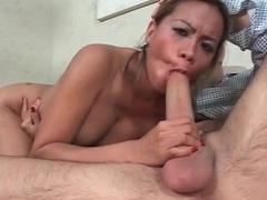 Hot slut with sexy implants sucks big boner tubes