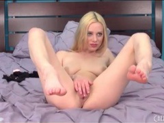 Spinning dildo pleasures naked blonde chick clip