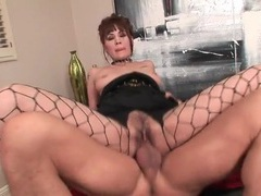 Girl in sexy fishnets fucked in hairy pussy videos