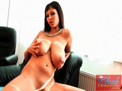 Curvy dominno fondles her amazing tits videos