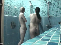 Tiny titty teens fool around in shower videos