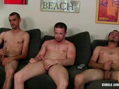 Three masturbating guys cum together videos