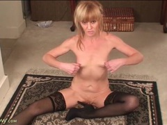 Cute blonde mature in black stockings fingers movies at freekilomovies.com