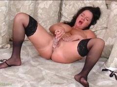 Lingerie set is sexy on curvy mature brunette videos