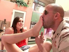 Military man sucks toes of a hot brunette movies at find-best-hardcore.com