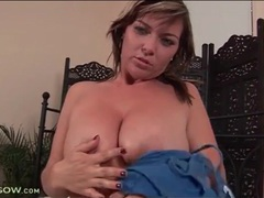 Curvy beauty sucks dildo and masturbates movies at lingerie-mania.com
