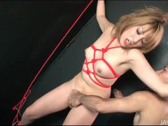 Rope bound japanese girl fingered in wet pussy tubes at japanese.sgirls.net