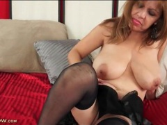 Curvy solo latina in black lingerie masturbates videos