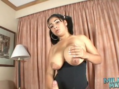 Milky tits girl in pigtails gives a titjob videos