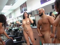 Naked slut fucked hardcore in barbershop videos