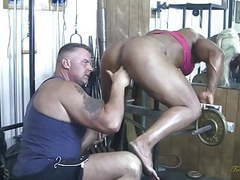 British muscle woman sucks cock, gets fingered movies at freekilomovies.com