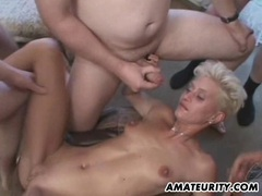 Amateur blonde girlfriend gangbang with bukkake movies at sgirls.net