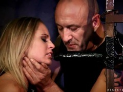 Submissive blonde gags on big dildo in prison videos