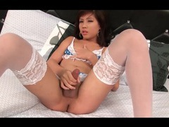 Sexy white stockings on masturbating ladyboy videos