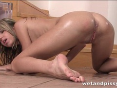 Slut soaked in urine fucks big dildo lustily videos