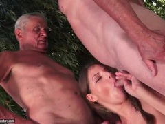 Grandpas get blown by cute girl outdoors movies at dailyadult.info