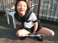 Schoolgirl drops her panties and masturbates outside tubes at lingerie-mania.com