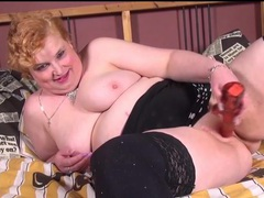 Fat redhead masturbates in black stockings movies at sgirls.net