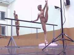Teen ballerina works out on the bar movies