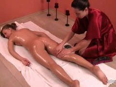 Oil massage leaves her body relaxed videos