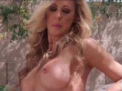 Soft sweater on cherie deville in outdoor tease movies at lingerie-mania.com