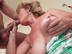 Big tits granny slut sucks a hard dick videos