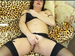 Cute brunette mom masturbates in stockings videos