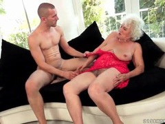 Granny in red lace eaten out by eager guy movies at very-sexy.com