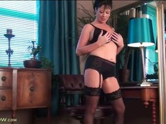 Milf model elise summers strips to black lingerie videos