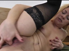 Solo blonde mature fingers her pierced pussy videos