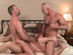 Three hot daddies in a gay anal threesome videos