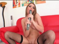 Beautiful brunette in black fishnet stockings fucks toy movies