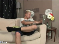 Blonde punk twink strips and strokes to porn movies at kilopics.com